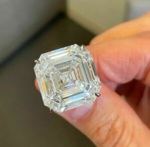 50ct Square-cut Asscher Huge Solitaire Ring Cocktail Party Fine Jewel 925 Silver