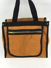 "8.5"" Vintage Black & Brown Canvas Hand Bag Purse Unbranded Taiwan 60s 70s Boho"
