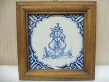 Alte Fliese Kachel Delft Niederlande Darstellung Mann mit Pfeife um 1700