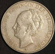1932 Netherlands 2 1/2 Gulden Silver Coin - Higher Grade - Free Shipping USA