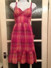 Evie Pink Checked Cute Summer Sun Dress Size 8 GC Adjustable Straps