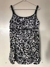 Robby Len Black White Floral One Piece Bathing Suit Swimsuit Size 18 swim dress