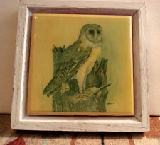 Kimberly Graphic Art Tile Barn Owl Wood Frame Artist Signed E. Rambow
