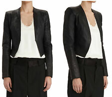 ** HAIDER ACKERMANN ** $2,650 NWT Black Leather Fitted Jacket Sz 40