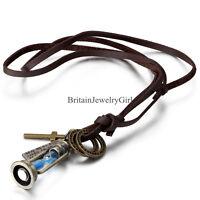 Blue Hourglass Vintage Lamp Pendant Mens Ladies Adjustable Leather Cord Necklace