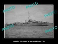 OLD LARGE HISTORIC PHOTO OF AUSTRALIAN NAVY SHIP HMAS HAWKESBURY c1950
