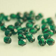 Copper Lined Emerald Green - 50 4mm Round Fire Polish Czech Glass Beads