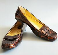 Sperry Top-Sider tortoise shell Patent Leather Loafers Shoes size 8M Brown Gold