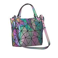 Geometric Luminous Purse Laser Handbag Women Totes Shoulder Bag Zipper Closure