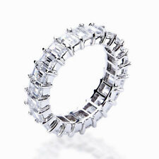 6.00Ct Emerald Diamond Eternity Band 14K White Gold Anniversary Set