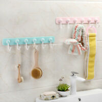6 Hooks Kitchen Utensil Gadget Wall Mounted Rack Bathroom Holder Self Adhesive