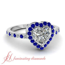 White Gold Heart Shaped Diamond And Sapphire Halo Style Engagement Ring 0.85 Ctw