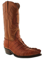 Mens Cognac Alligator Skin Leather Cowboy Western Boots Size 7.5