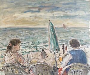 JEAN-JACQUES RENE (b.1943) SIGNED FRENCH OIL - LOOKING OUT TO SEA - BEACH BAR