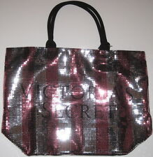 NWT Victoria's Secret Silver Pink Sequin Bling 2015 Black Friday Tote Travel Bag
