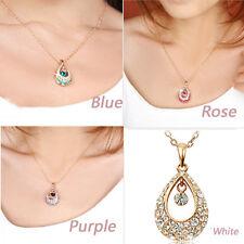 Fashion Women Colorful Rhinestone Angel Tears Pendant Chain Necklace Hot Sale