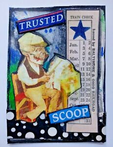 """""""Trusted """" mixed media collage weird Newsroom Skeleton altered art card aceo"""