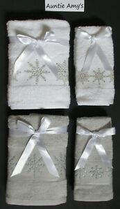 Christmas Glittering Snowflakes Towels~2Pc Set~Hand or Fingertip~Gray or White