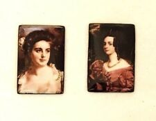 Two Vintage Miniature Enameled Pictures on Copper of Portraits Historical Ladies