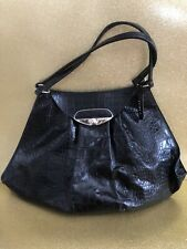 NWT FURLA Crocodile Embossed Leather Navy Hand/Shoulder Bag