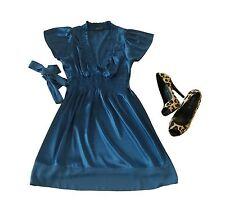 BCBG Maxazria Dress Size XS Short Sleeve Silk Blue A-Line Womens Knee Length