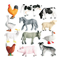 12 Pcs Figurine - Animals - Pig / Dog / Cow / Sheep / Horse / Duck /
