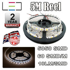 5M 12V COOL WHITE LED Strip Light 5050 300SMD 18lm / SMD 60SMD / M Bright Impermeabile