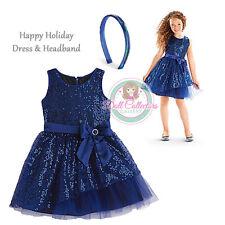 American Girl CL MY AG SET HAPPY HOLIDAY DRESS & HEADBAND BLUE SIZE 12 Girl NEW