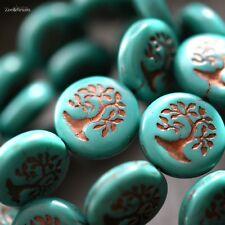 1 Little Bonsai - Czech Glass, Turquoise, Metallic Bronze, Bonsai Coin Beads