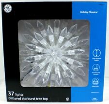 GE Christmas TREE TOPPER 37 Lights Holiday Classics Glittered Starburst Plastic