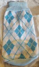 Hund/Katze Blau Argyle Sweater-Sz. M Weiche Baumwolle Gestrickt - Tief World