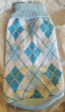 DOG/CAT Blue Argyle sweater-Sz. Medium- Soft cotton knit -LOW WORLD Shipping