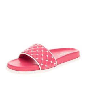 RRP €655 VALENTINO GARAVANI Leather Slide Sandals EU37 UK4 US7 Rockstud Quilted