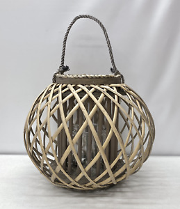 NEW Pottery Barn Round Diamond Weave Willow Lantern Candle Holder~SMALL~Gray