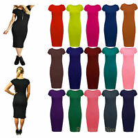 Womens Ladies Short Sleeve Midi Dress Bodycon PLUS SIZE Cap Maxi Midi Dress 8-26