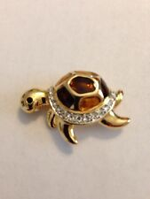 Turtle Crystal Pin Brooch - New