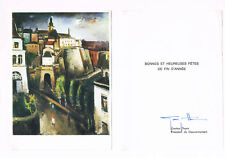 "Luxembourg PM Gaston Thorn 1928-2007 genuine autograph signed 5x7"" new year card"