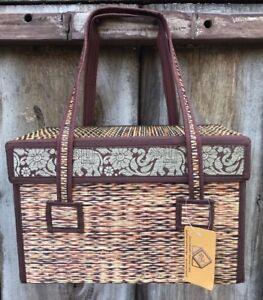 Natural Reed Hand Woven Handbag Multi-Purpose Box Elephant Side Eco-Friendly