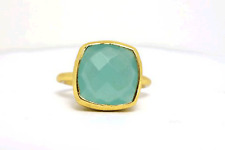 CHALCEDONY gemstone ring in 925 silver, Solid 14k,18k gold wedding gift band