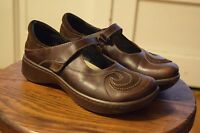Naot Sea Swirl Brown Leather Mary Jane Comfort Shoes Women's Size 37 6-6.5