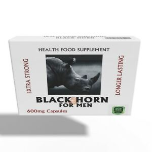 BLACK HORN 600mg HERBAL SEX CAPSULES  FOR MEN  ****LASTS UP TO 72hrs *****