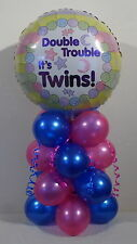 TWINS - BIRTH -  BABY GIRL - BABY BOY - FOIL BALLOON DISPLAY - TABLE CENTREPIECE
