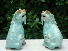 Antique PAIR CHINESE FOO LION DOG Old Clay Statues TURQUOISE ART POTTERY C 1910