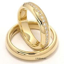 MATCHING WEDDING RINGS SET,14K YELLOW GOLD HIS & HERS DIAMOND WEDDING BANDS