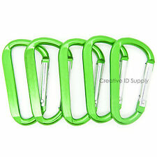 "100 PCS - 2.25"" GREEN CARABINER SPRING D BELT CLIP KEY CHAIN ANODIZED ALUMINUM"