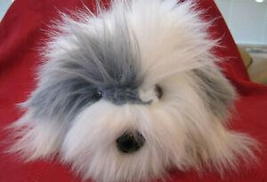 "14"" Vintage Dakin 1988 Shaggy Dog Gray/White Sheepdog Plush Hand Puppet Korea"