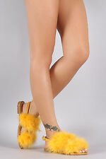 EMILY-40 New Womens Feather Fur Slide Slingback Strap Flat Sandal Shoes Open Toe