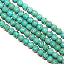 "GR1369jc Blue-Green Turquoise w Matrix 8mm Round Magnesite Gemstone Beads 16"""
