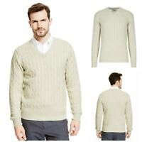 M&S Marks and Spencer Mens Beige Marl Ivory Cable Knit V Neck Jumper
