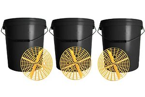 3x Detailing Bucket With Grit Guard 20L Valeting Car Wash Cleaning Black Lid Ltr